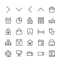 Web and User Interface Outline Icons 3 vector image