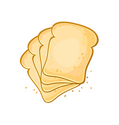 white bread set of 4 slices toast bread vector image