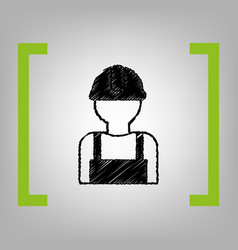 worker sign black scribble icon in citron vector image