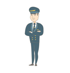 young caucasian pilot standing with folded arms vector image