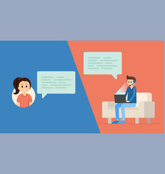 young couple chatting in internet app vector image