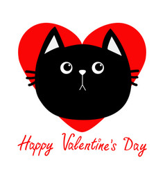 black cat head icon red heart cute funny cartoon vector image vector image