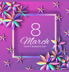 bright violet holographic flowers happy womens vector image