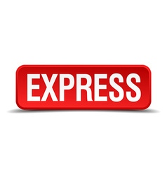 Express red 3d square button isolated on white vector image