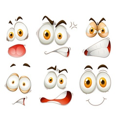 Facial expression on white vector image vector image