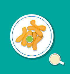 fried bread stick with pandan custard and soymilk vector image vector image
