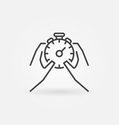 hands holding stopwatch icon vector image