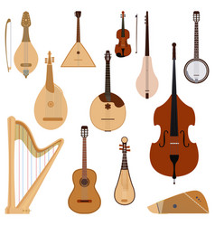set of stringed dreamed musical instruments vector image
