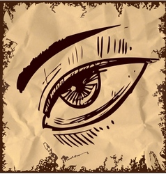 Sketch eye isolated on vintage background vector image vector image