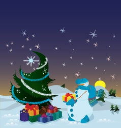 Snowman with presents near the Christmas tree vector image vector image