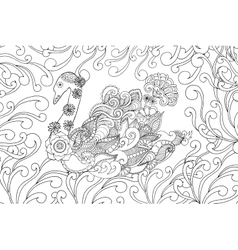 Swan coloring page vector image