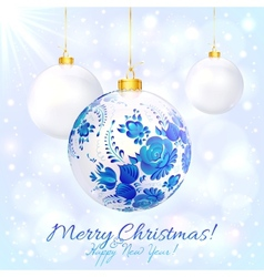 White christmas ball with blue floral ornament vector image vector image