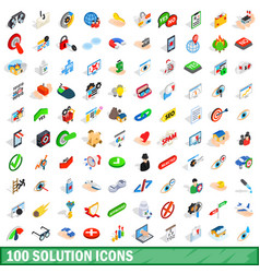 100 solution icons set isometric 3d style vector image vector image