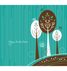 cartoon background with flowers and bird vector image vector image