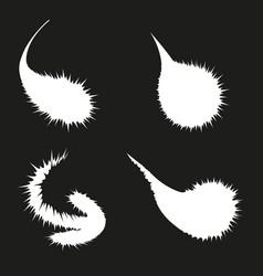 set of white blots on black background vector image