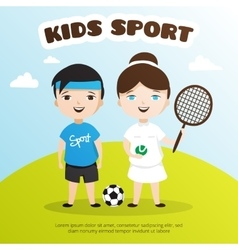 cute cartoon style kids sports vector image