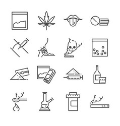 drugs line icon set vector image