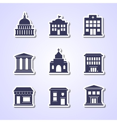 Government building paper cut icons vector image vector image