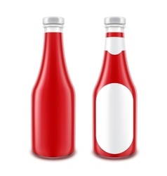 Set of Glass Red Ketchup Bottle without with Label vector image