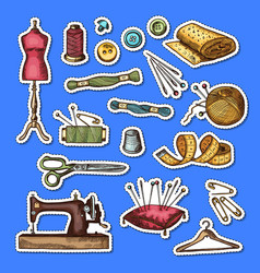 set of hand drawn sewing elements stickers vector image vector image