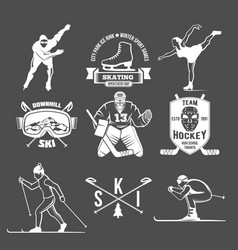 winter sport badges set vector image