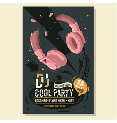 dj party poster flyer design with broken vector image vector image