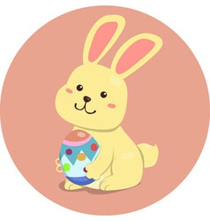Easter Rabbit Cute Cartoon Holding Egg vector image