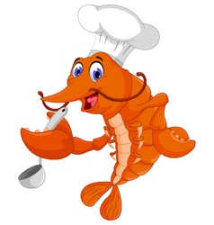 funny chef shrimp cartoon cooking vector image