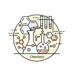Modern color thin line concept of chemistry vector