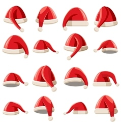 Red Santa Claus hat icons set cartoon style vector image vector image