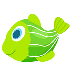 rubber or plastic green fish for children to take vector image vector image
