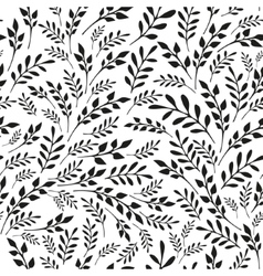 Seamless floral black and white background vector image vector image