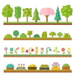 Trendy beautiful set of flat plants forest vector image
