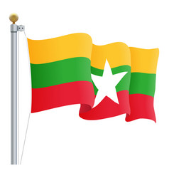 waving myanmar flag isolated on a white background vector image vector image