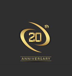 20 years anniversary logo style with swoosh ring vector