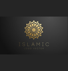 3d gold islamic logo geometric islamic ornament vector image