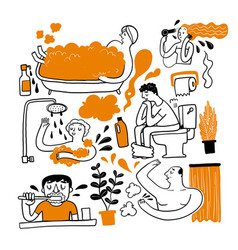a personal errand in the bathroom vector image
