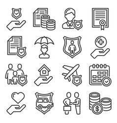 accident insurance icons set on white background vector image