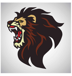 angry lion head roaring mascot logo design vector image