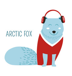 arctic fox listening to music and wearing vector image
