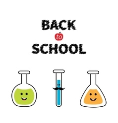Back to school science lab glass set cartoon vector