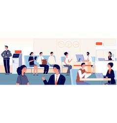 bank office customers banking interior woman vector image
