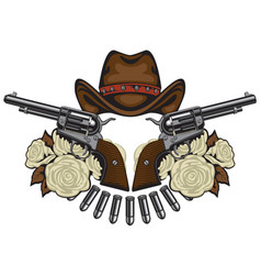 Banner with two revolvers hat bullets and roses vector