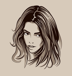 beautiful brunette girl portrait vector image