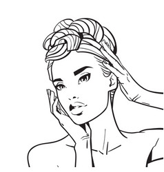 beautiful woman face with elegant hairstyle sketch vector image