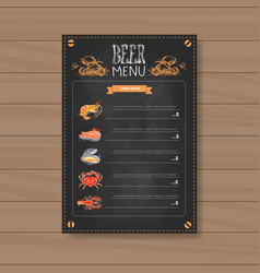 Beer and sea food menu design for restaurant cafe vector