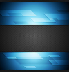 Blue and black tech background vector image