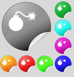 Bomb icon sign set of eight multi colored round vector