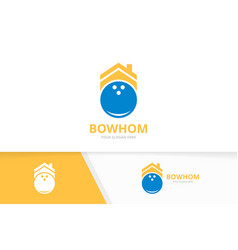 bowling and real estate logo combination vector image