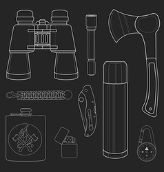Camping items set no outline chalk on blackboard vector